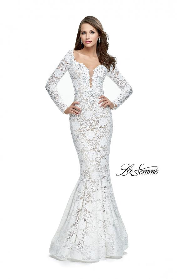 Picture of: Long Sleeve Lace Mermaid Prom Dress with Metallic Beads, Style: 25607, Detail Picture 4