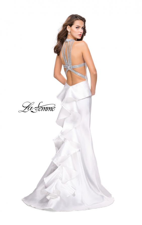 Picture of: Mikado Mermaid Dress with Embellished High Neckline in White, Style: 25838, Detail Picture 2