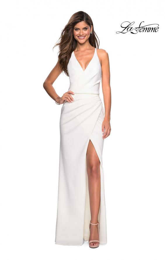 Picture of: Long Jersey Ruched Dress with Side Leg Slit, Style: 27317, Detail Picture 4