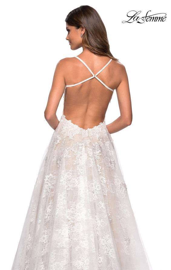 Picture of: Floor Length Lace Dress with Criss Cross Open Back in White, Style: 27448, Detail Picture 4