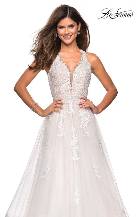 Picture of: Racer Back Lace Embellished Floor Length Ball Gown in White, Style: 27603, Detail Picture 4