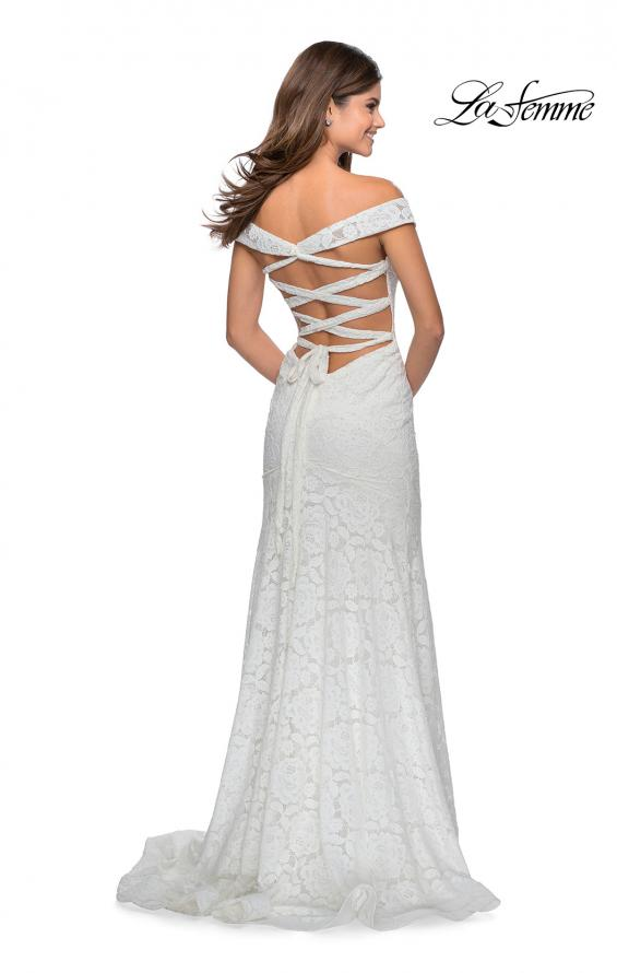 Picture of: Long Off the Shoulder Prom Dress with Lace Up Back in White, Style: 28545, Detail Picture 4