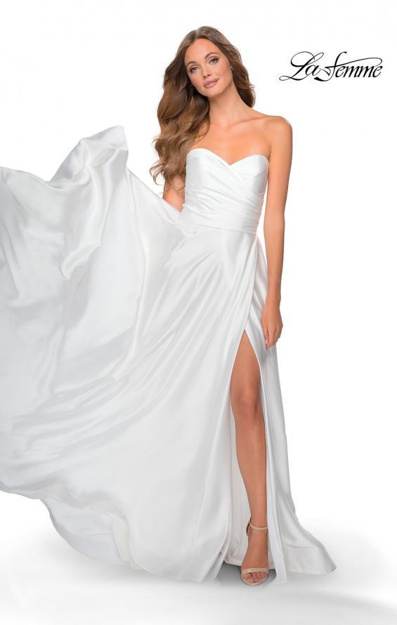 Picture of: Strapless Satin Gown with Pleated Bodice and Slit in White, Style: 28608, Detail Picture 4