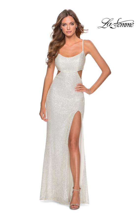 Picture of: Cut Out Sequin Prom Dress with Straight Neckline in White, Style: 28765, Detail Picture 4