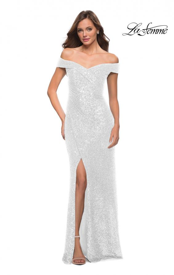Picture of: Off the Shoulder Ruched Sequin Dress with Slit in White, Style 29831, Detail Picture 4