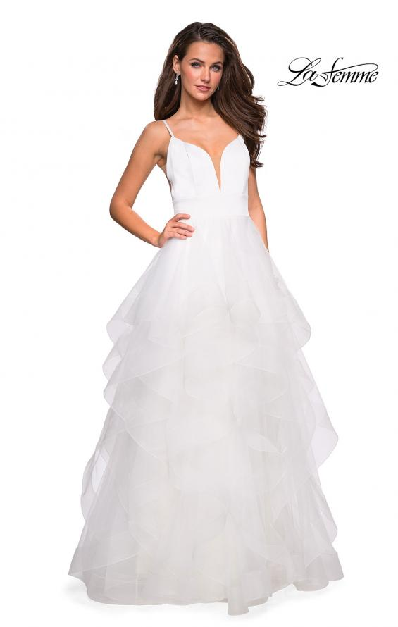 Picture of: Tulle A Line Dress with Plunging Sweetheart Neckline in White, Style: 27024, Detail Picture 5