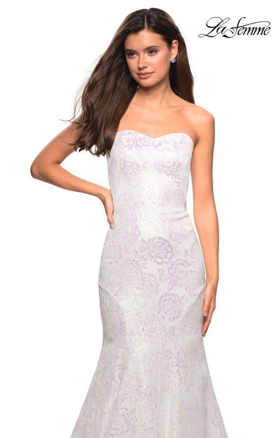 Picture of: Mermaid Style Rose Printed Strapless Prom Dress in White, Style: 27286, Detail Picture 5