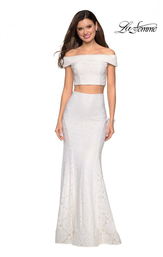 Picture of: Lace Two Piece Off the Shoulder Dress with Rhinestones in White, Style: 27443, Detail Picture 5