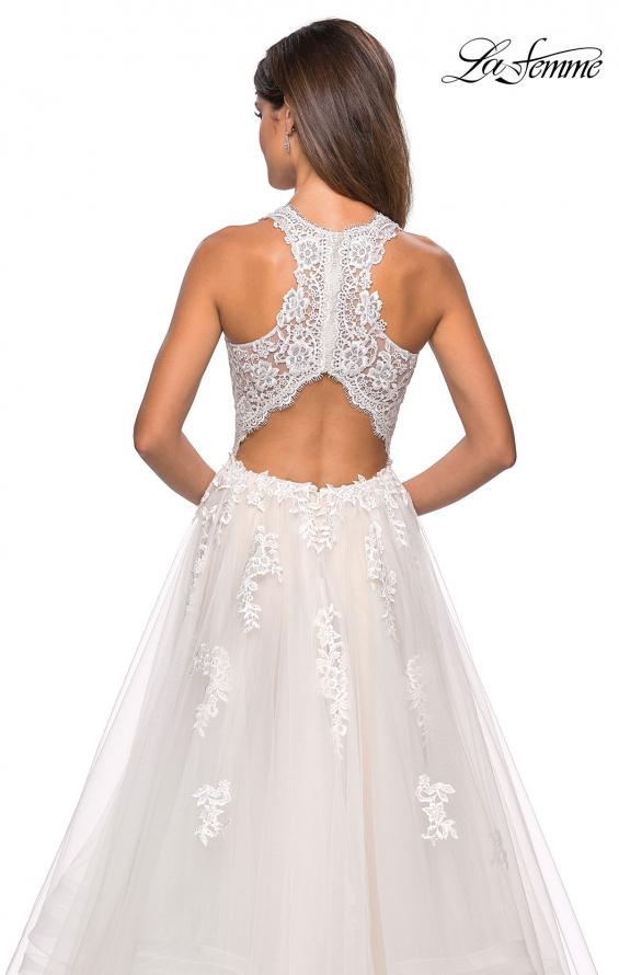 Picture of: Racer Back Lace Embellished Floor Length Ball Gown in White, Style: 27603, Detail Picture 5