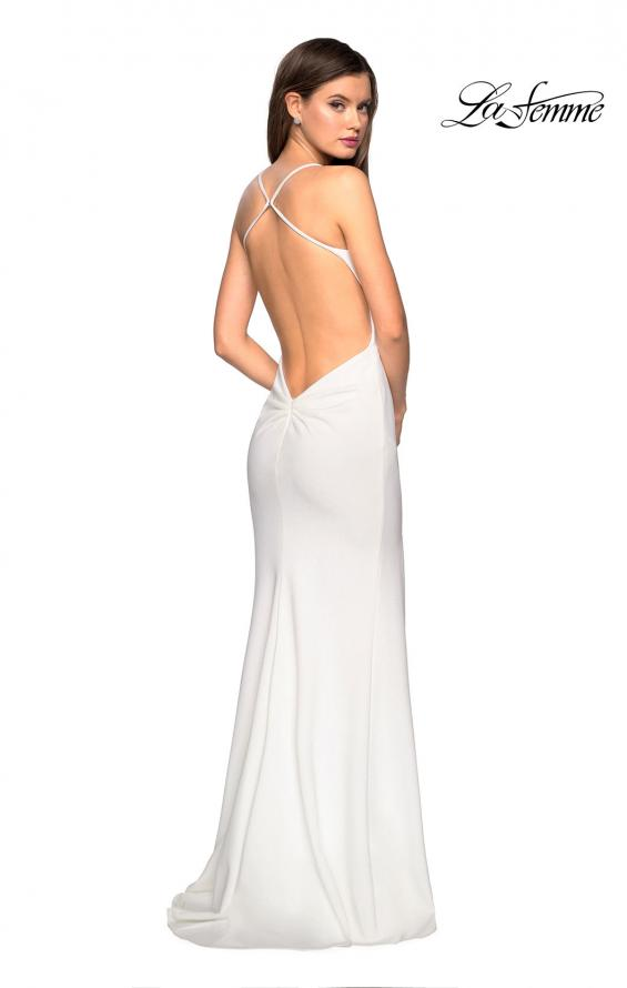 Picture of: Floor Length Jersey Dress with Soft V Neckline, Style: 27657, Detail Picture 5