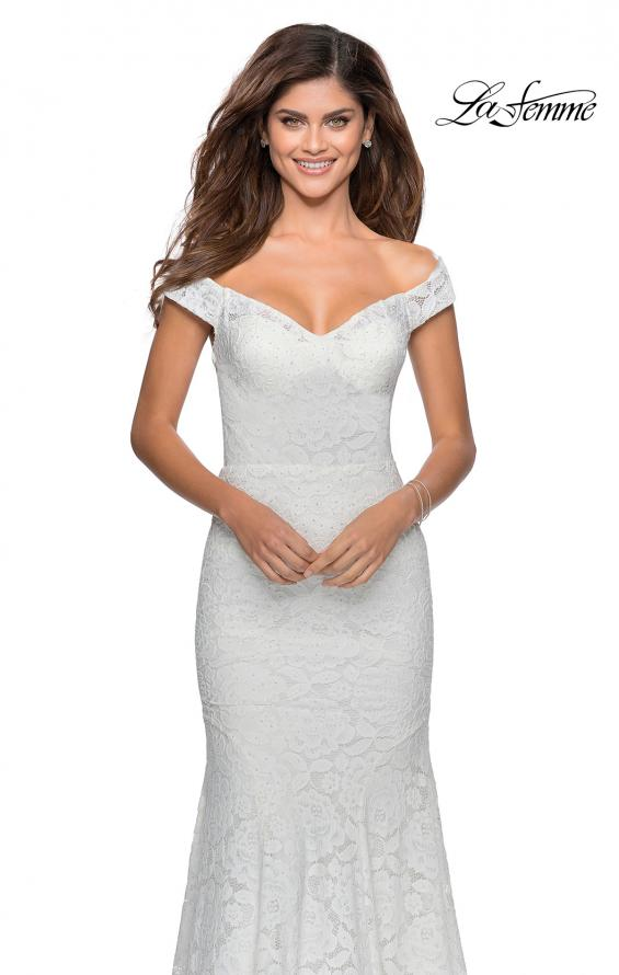 Picture of: Long Off the Shoulder Prom Dress with Lace Up Back in White, Style: 28545, Detail Picture 7