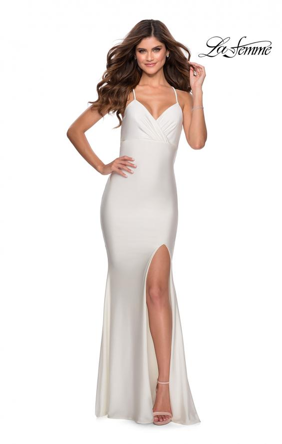 Picture of: Empire Waist Jersey Dress with Lace Up Back in White, Style: 28584, Detail Picture 5