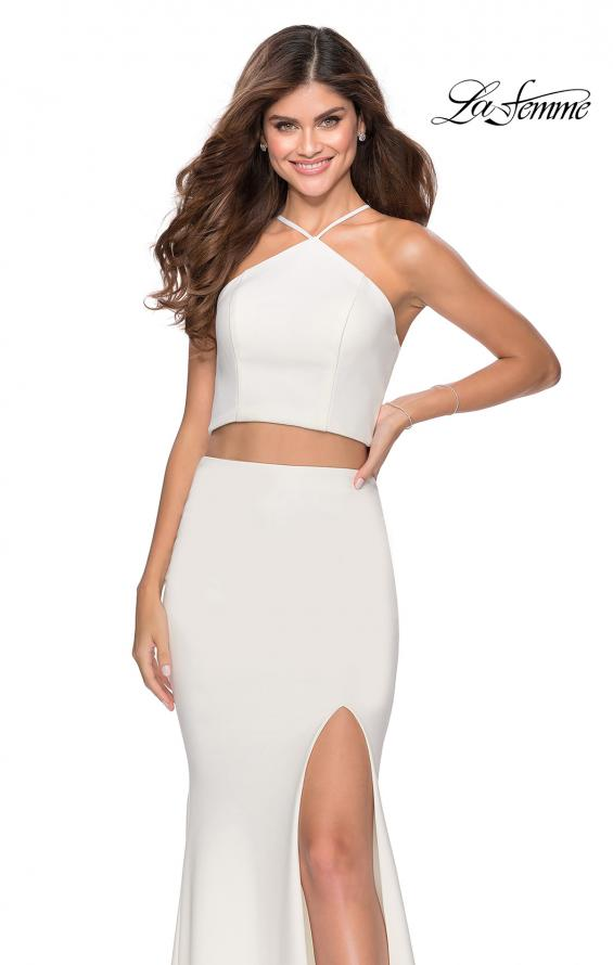 Picture of: Sleek Two Piece Pyramid Neckline Prom Dress in White, Style: 28624, Detail Picture 5