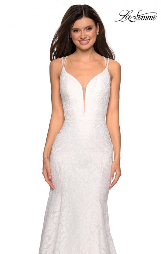 Picture of: Mermaid Style Lace Dress with Strappy Open Back, Style: 27560, Detail Picture 6