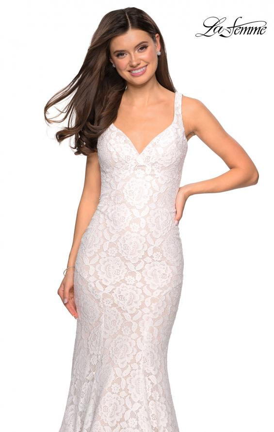 Picture of: Stretch Lace Long Dress with Open Strappy Back in White, Style: 27623, Detail Picture 6