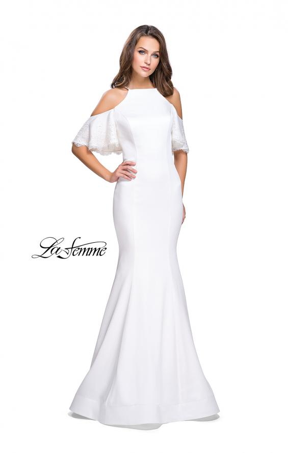 Picture of: Form Fitting Satin Mermaid Dress with Shoulder Cutouts in White, Style: 26145, Detail Picture 7