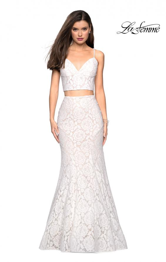 Picture of: Lace Two Piece Gown with Rhinestone Accents, Style: 27589, Detail Picture 7