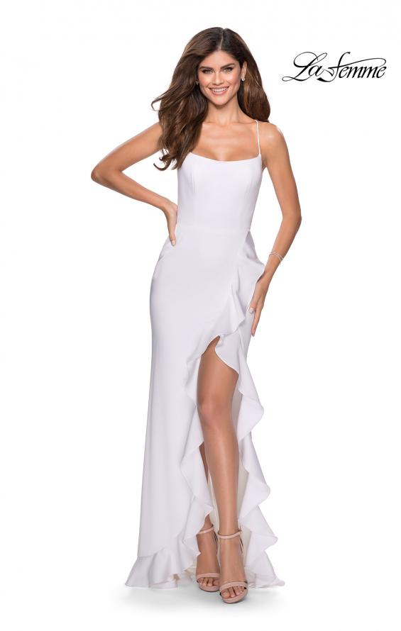 Picture of: Ruffle Prom Dress with Scoop Neck and Lace Up Back in White, Style: 28294, Detail Picture 7