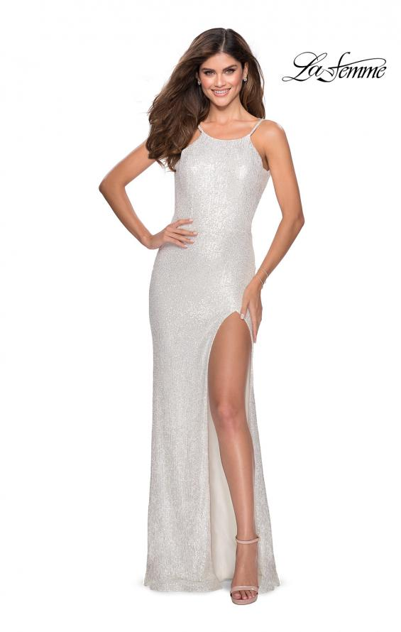 Picture of: HIgh Neck Sequin Gown with Open Back and Slit in White, Style: 28529, Detail Picture 7