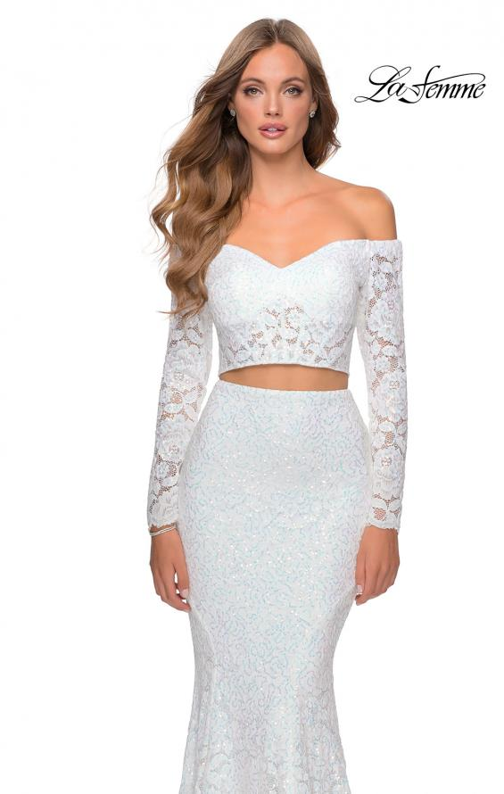 Picture of: Lace Sleeve Lace and Sequin Two Piece Prom Dress in White, Style: 28666, Detail Picture 7