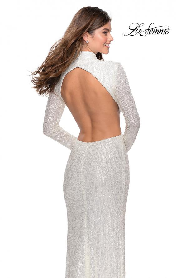 Picture of: Long Sleeve Sequin Prom Dress with Open Back in White, Style: 28771, Detail Picture 7