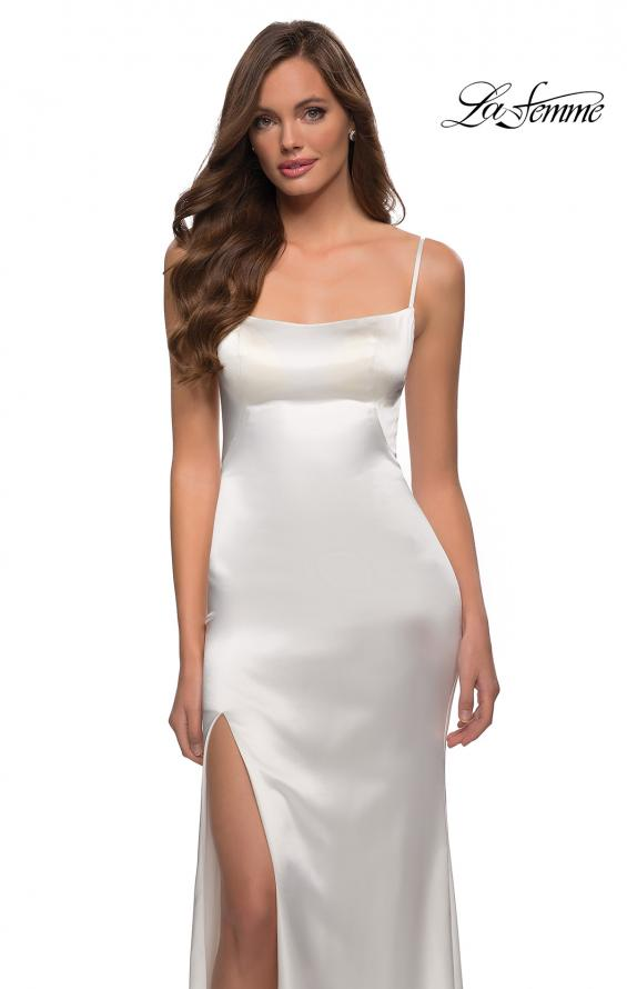 Picture of: Fitted Stretch Satin Dress with Scoop Back in White, Style 29945, Detail Picture 7