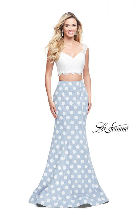 Picture of: Denim Polka Dot Two Piece Prom Dress with Lace Top, Style: 26206, Main Picture