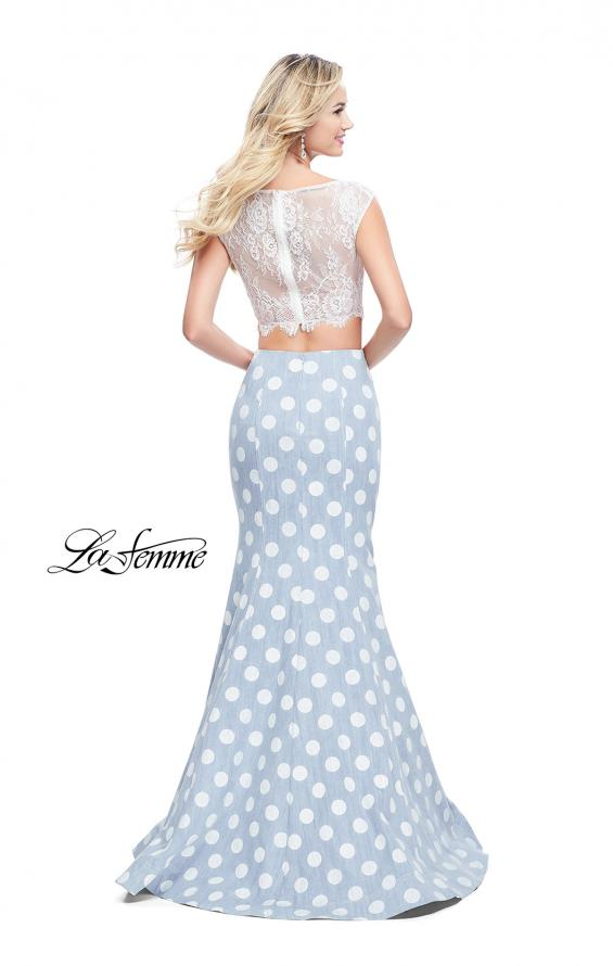 Picture of: Denim Polka Dot Two Piece Prom Dress with Lace Top, Style: 26206, Back Picture