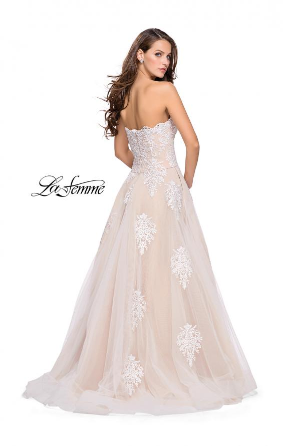 Picture of: Strapless Lace Gown with Tulle and Lace Applique in White Nude, Style: 25560, Back Picture