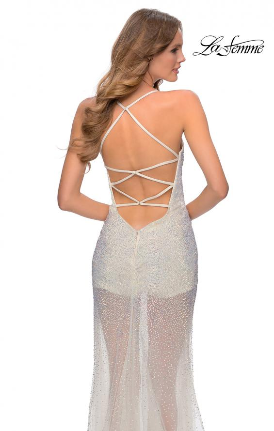 Picture of: Sheer Tulle Rhinestone Dress with Attached Shorts in White, Style: 28806, Detail Picture 3