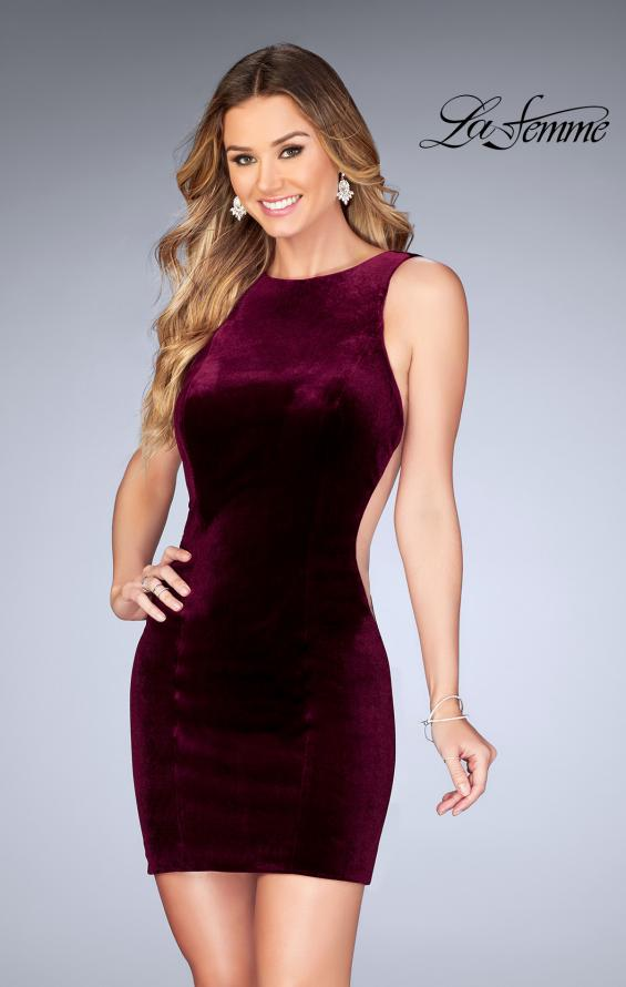 Picture of: High Neck Gown with Open Back and Illusion Sides in Wine, Style: 25007, Main Picture