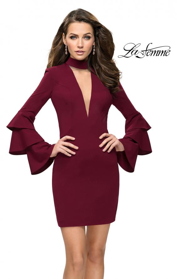 Picture of: Short Homecoming Dress with Tiered Bell Sleeves in Wine, Style: 26639, Main Picture