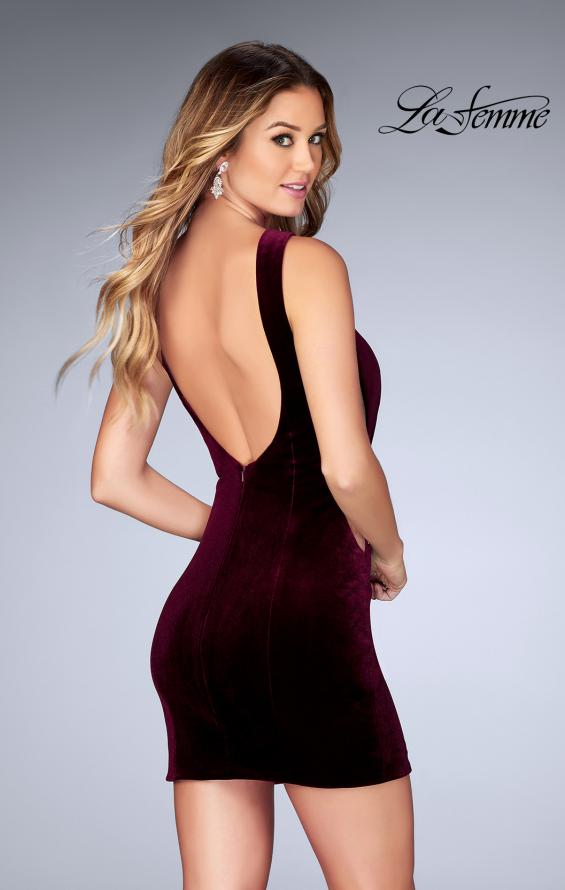 Picture of: High Neck Gown with Open Back and Illusion Sides in Wine, Style: 25007, Back Picture