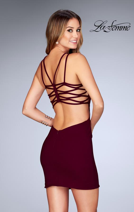 Picture of: Tight Jersey Dress with Separating Straps in Back in Wine, Style: 25058, Back Picture