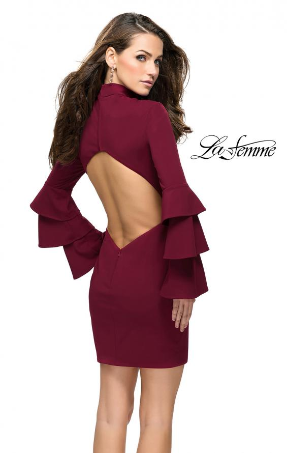 Picture of: Short Homecoming Dress with Tiered Bell Sleeves in Wine, Style: 26639, Back Picture