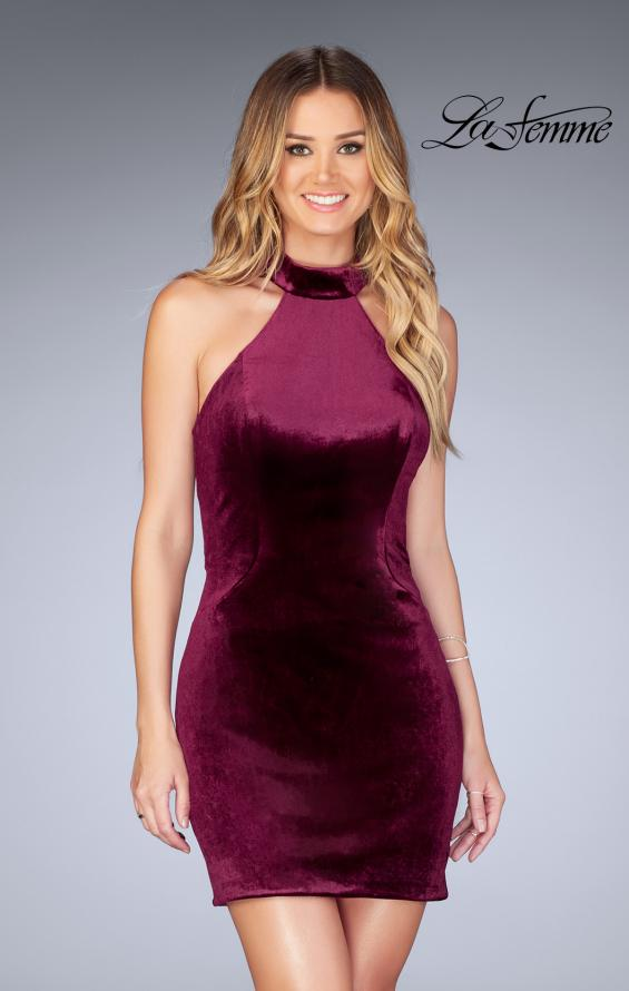 Picture of: High Neck Velvet Dress with Open Back in Wine, Style: 25032, Detail Picture 1