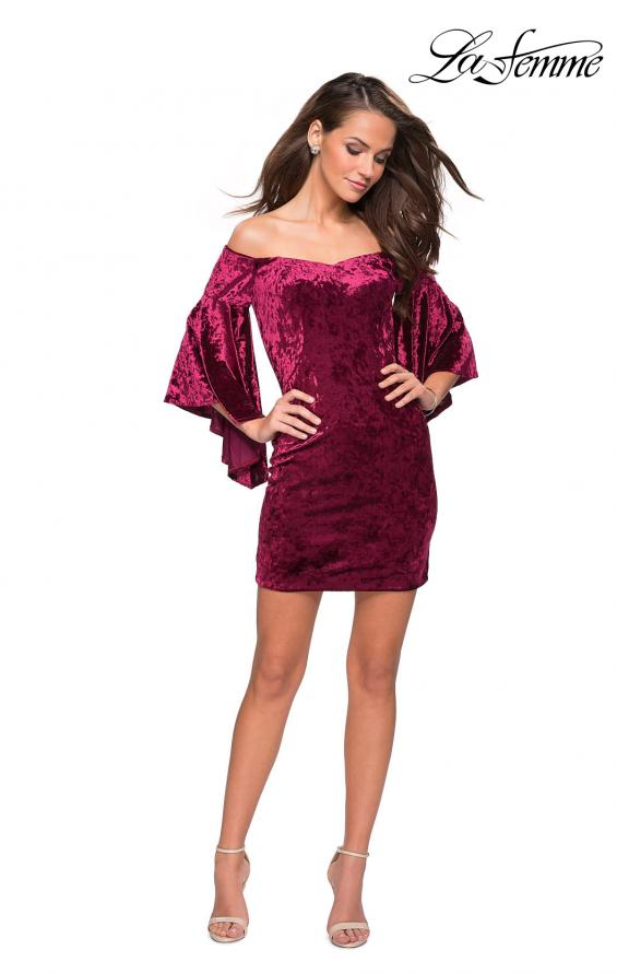 Picture of: Trendy Velvet Dress with Off the Shoulder Bell Sleeves in Wine, Style: 26640, Detail Picture 1