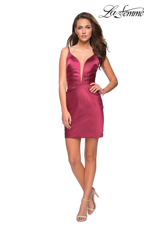 Picture of: Elegant Satin Homecoming Dress with Cut Out Back Detailing in Wine, Style: 26722, Detail Picture 1