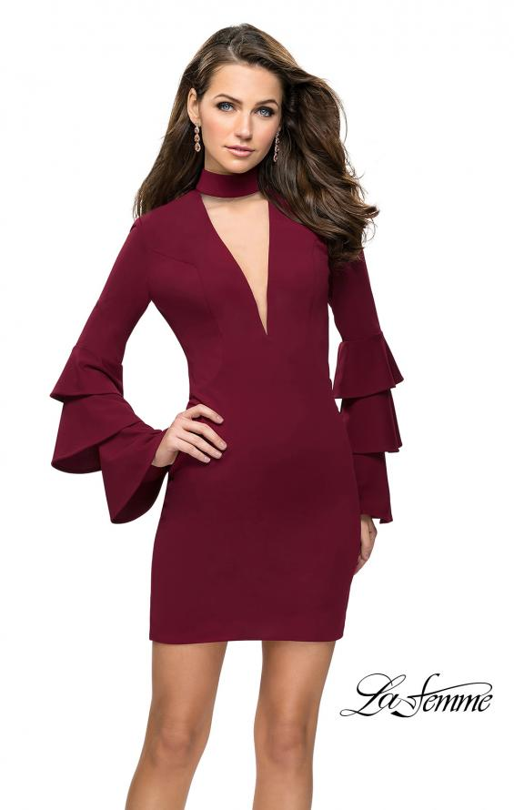 Picture of: Short Homecoming Dress with Tiered Bell Sleeves in Wine, Style: 26639, Detail Picture 2