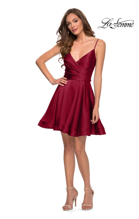 Picture of: Satin Homecoming Dress with Cut Out Corset Style Back in Wine, Style: 29242, Detail Picture 2