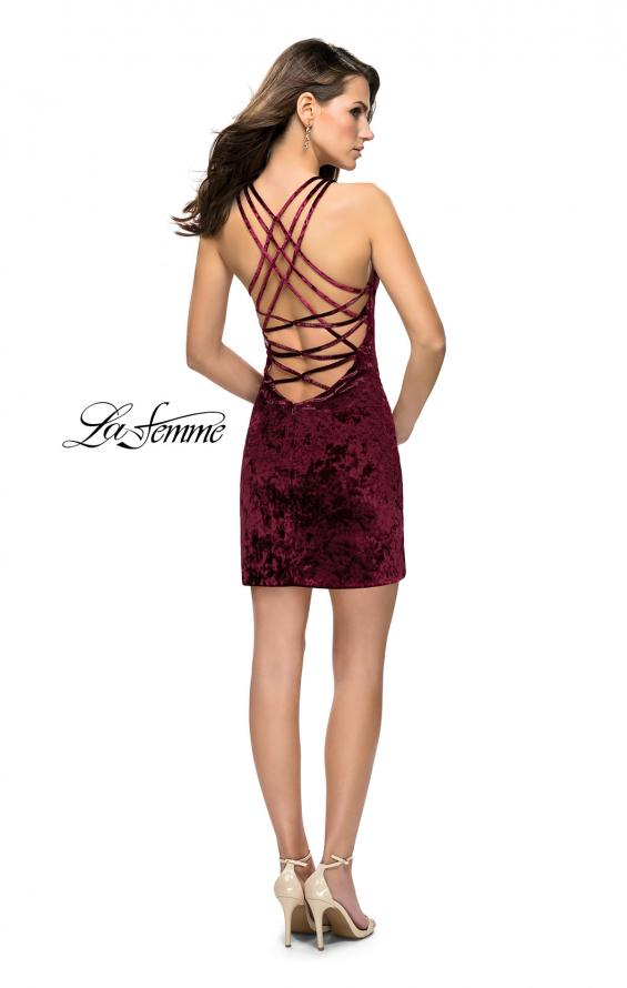 Picture of: High Neck Short Velvet Dress with Criss Cross Back Straps, Style: 26663, Detail Picture 3