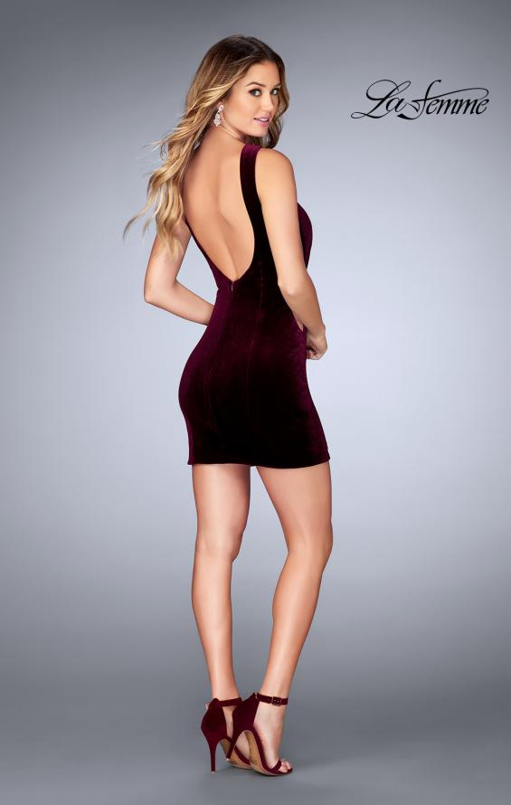 Picture of: High Neck Gown with Open Back and Illusion Sides in Wine, Style: 25007, Detail Picture 4