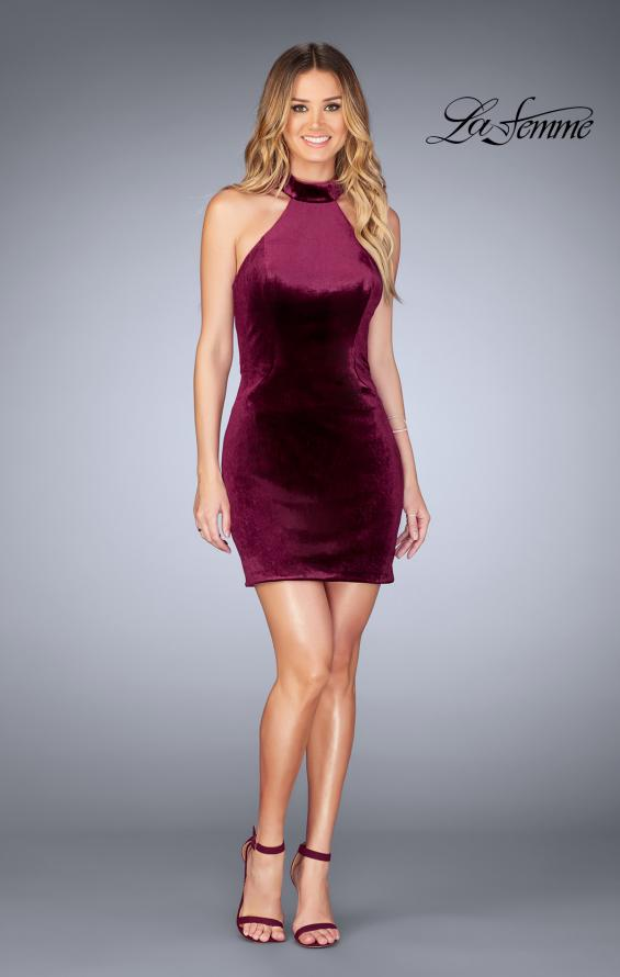 Picture of: High Neck Velvet Dress with Open Back in Wine, Style: 25032, Detail Picture 4