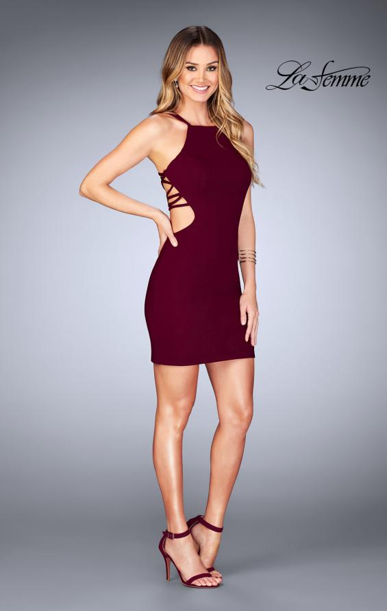 Picture of: Tight Jersey Dress with Separating Straps in Back in Wine, Style: 25058, Detail Picture 4