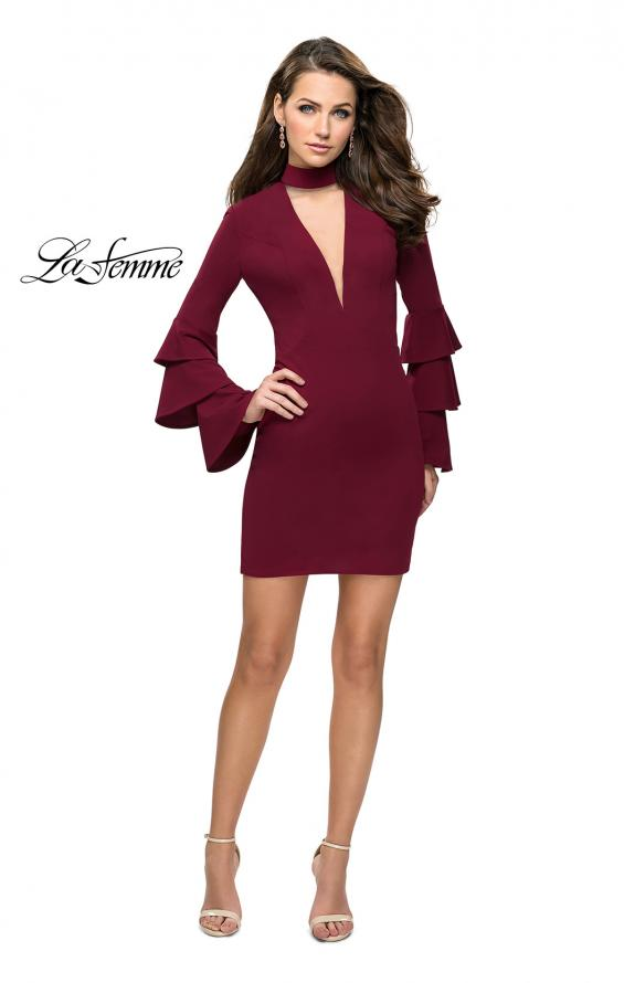 Picture of: Short Homecoming Dress with Tiered Bell Sleeves in Wine, Style: 26639, Detail Picture 4