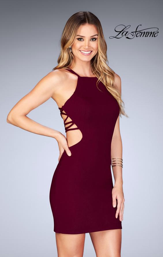 Picture of: Tight Jersey Dress with Separating Straps in Back in Wine, Style: 25058, Detail Picture 6