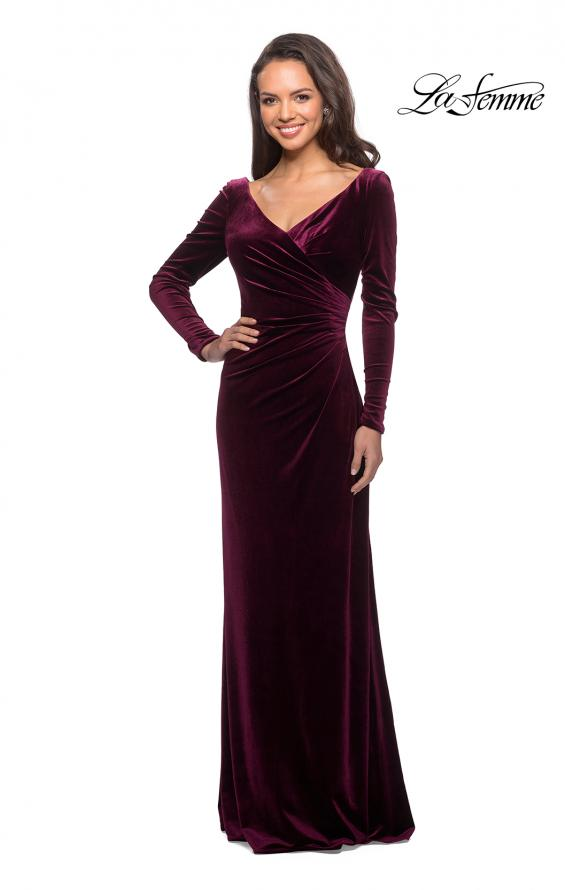 Picture of: Elegant Long Sleeve Velvet Dress with Ruching in Wine, Style: 25207, Main Picture