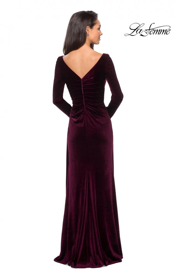Picture of: Elegant Long Sleeve Velvet Dress with Ruching in Wine, Style: 25207, Back Picture