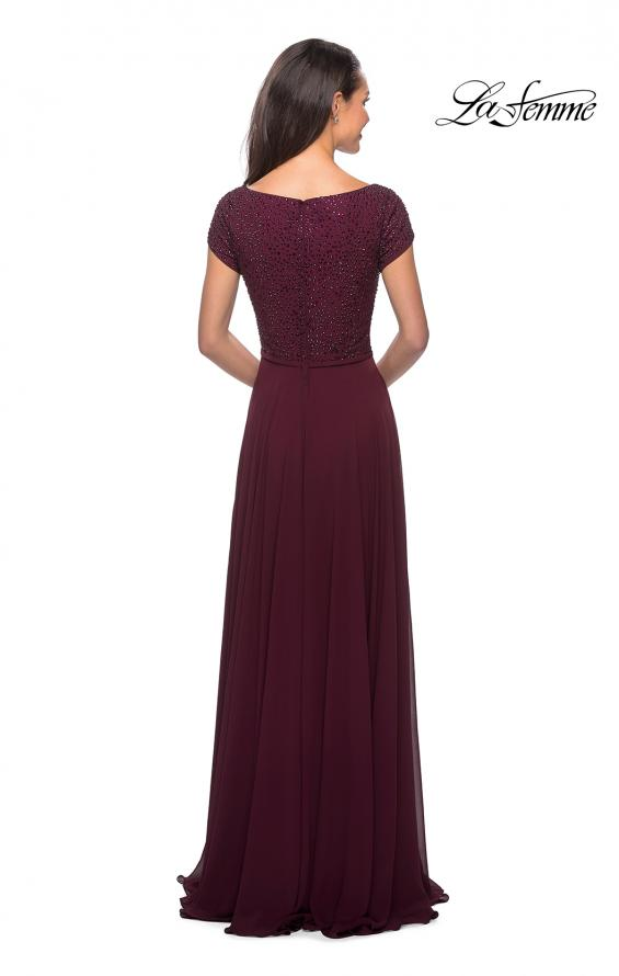 Picture of: Short Sleeve Long Gown with Beaded Bodice, Style: 26512, Back Picture