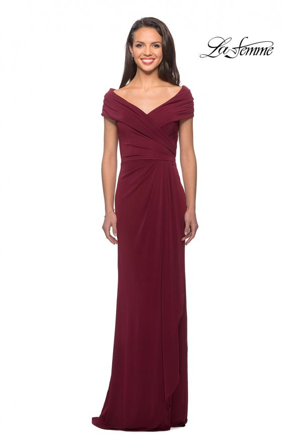 Picture of: Ruched Jersey Long Gown with V-Neckline, Style: 26519, Detail Picture 3